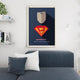 Mindset poster superman businessman hanging above grey couch