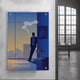 entrepreneur art blue design hanging on grey wall with windows on the side
