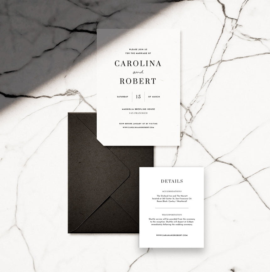 Chic Editorial Wedding Invitation