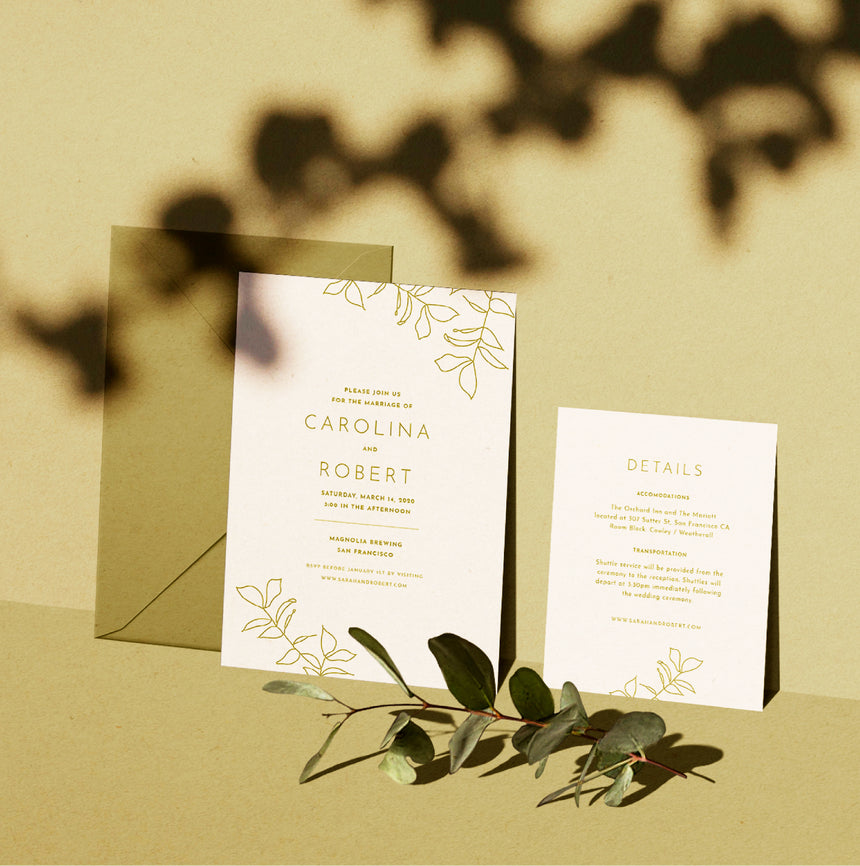 Eucalyptus Leaves Wedding Invitation