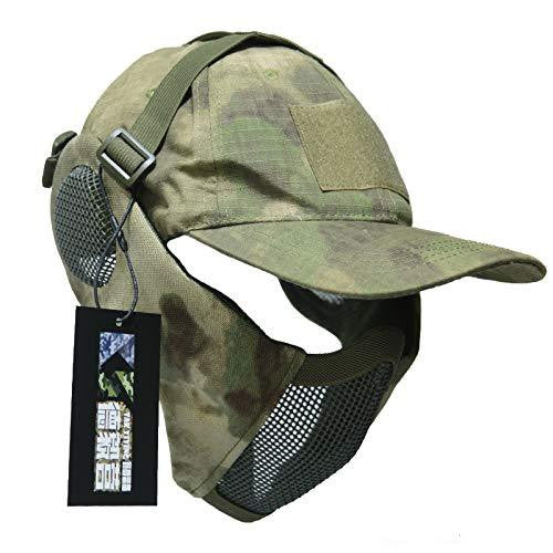 NO B Tactical Foldable Mesh Mask with Ear Protection for Airsoft Paintball with Adjustable Baseball Cap A TACS-FG Airsoft Mask NO B