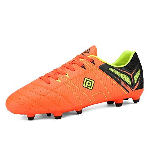 DREAM PAIRS Mens 160471-M Orange Black-Lemon-Green Sport Cleats - KNAMAO