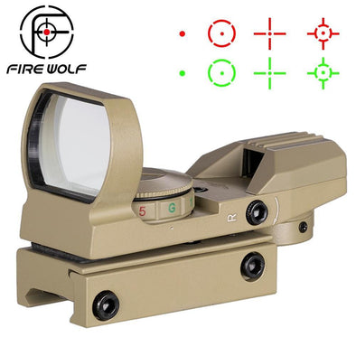 Fire Wolf 372 Holographic Reflex Sights Green-Red Dot for 20mm Rail Mount Tan - KNAMAO