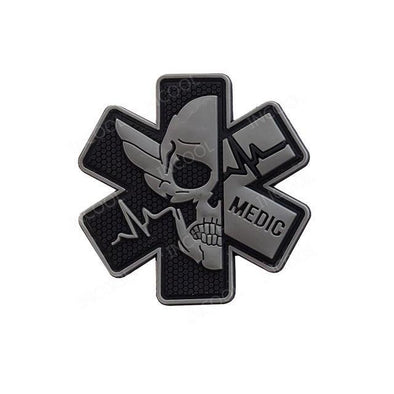 INCOOL 3D PVC Medical PARAMEDIC Skull Tactical Moral Patch Black-Grey - KNAMAO
