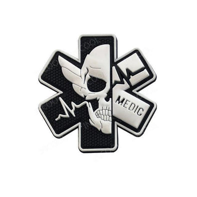 INCOOL 3D PVC Medical PARAMEDIC Skull Tactical Moral Patch Black-White - KNAMAO