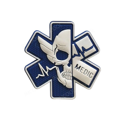 INCOOL 3D PVC Medical PARAMEDIC Skull Tactical Moral Patch Blue-White - KNAMAO