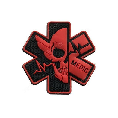 INCOOL 3D PVC Medical PARAMEDIC Skull Tactical Moral Patch Red - KNAMAO