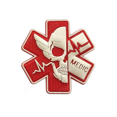 INCOOL 3D PVC Medical PARAMEDIC Skull Tactical Moral Patch Red-White - KNAMAO