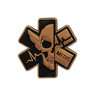 INCOOL 3D PVC Medical PARAMEDIC Skull Tactical Moral Patch Tan - KNAMAO