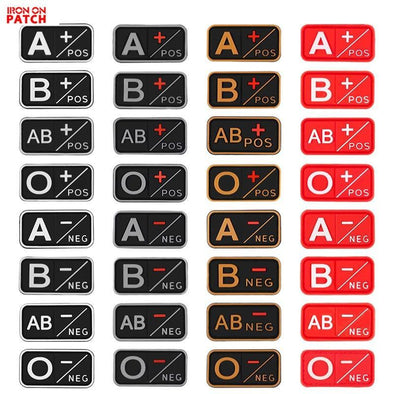 IRON ON PATCH Tactical 3D PVC Blood Type Patches - KNAMAO