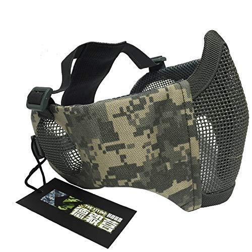 NO B Tactical Foldable Mesh Mask with Ear Protection for Airsoft Paintball with Baseball Cap ACU - KNAMAO