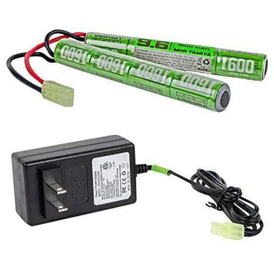 Valken Airsoft Battery-Charger Combo-NiMh 9.6V 1600mAh Split Style Battery 1-Amp Smart Charger - KNAMAO