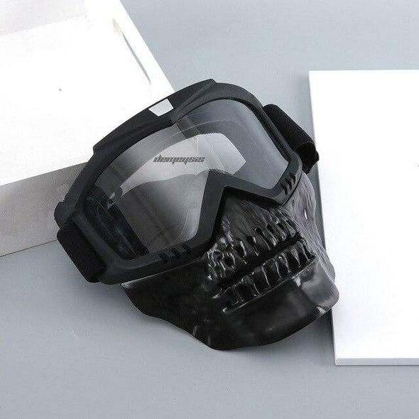 WSE Airsoft Skull Half Face Mask Black with Detachable Goggles - KNAMAO