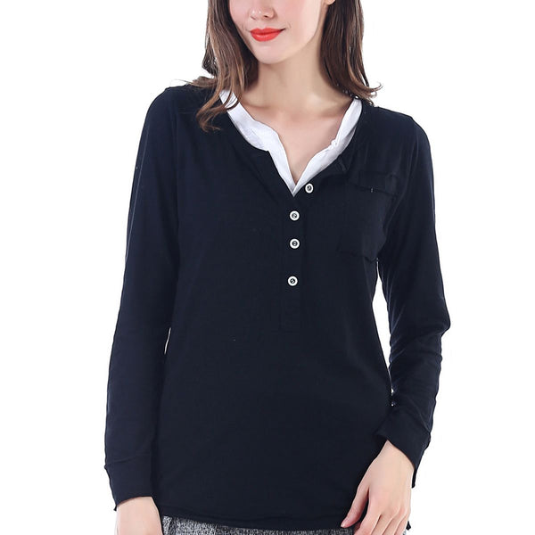 Black 2 Piece Henley Long Sleeve S/M