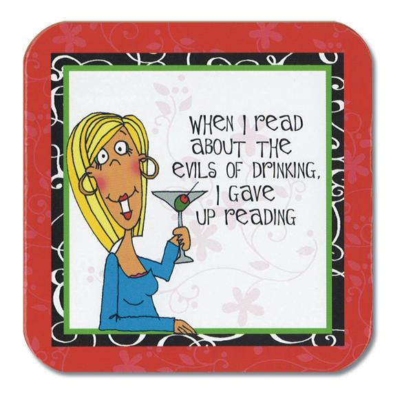 Divinity Boutique Cheeky Chic: Red, Gave Up Reading Coasters