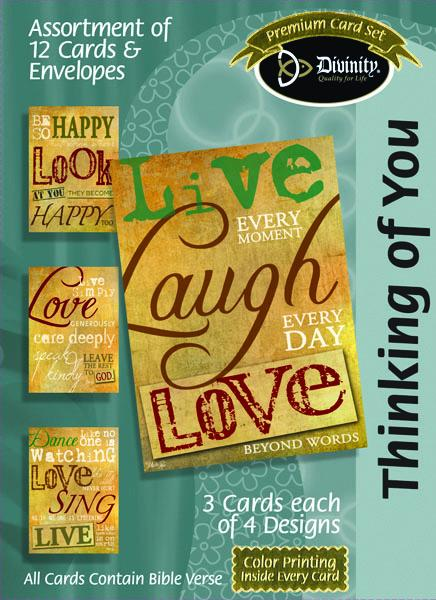 Divinity Boutique Boxed Cards: Thinking Of You, Words On Parchment