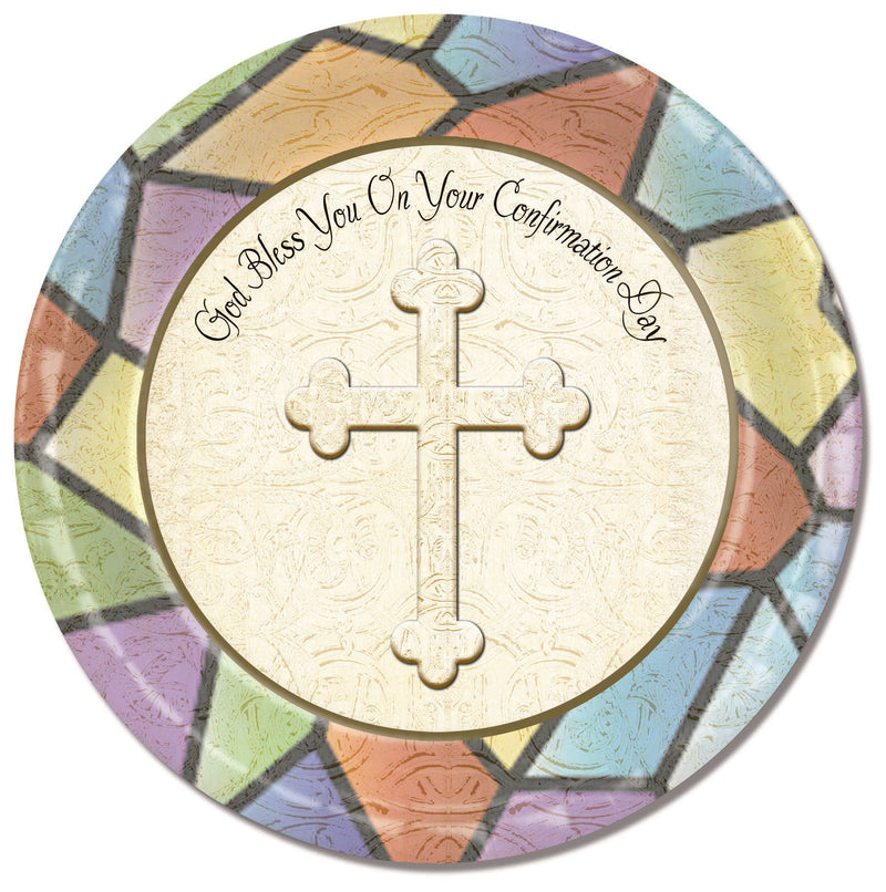 Divinity Boutique Confirmation Stained Glass with Scripture Paper Plate