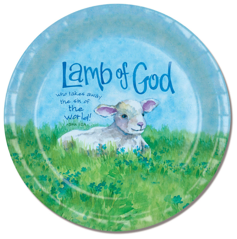 Divinity Boutique Easter Lamb Of God with Scripture Paper Plate