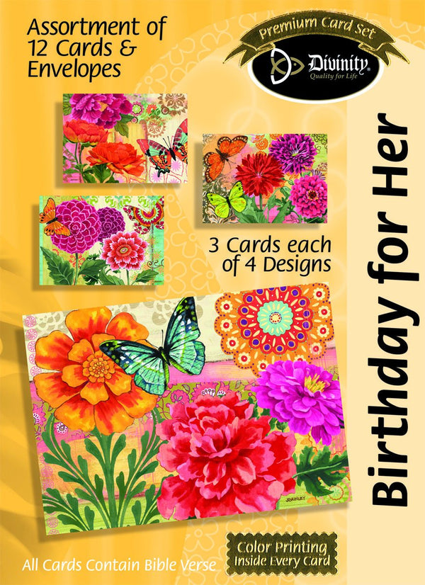 Divinity Boutique Boxed Cards: Birthday For Her, Butterfly Blooms Scripture
