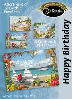 Divinity Boutique Boxed Cards: Happy Birthday,A.Giana, Coastal Adirondack Chairs