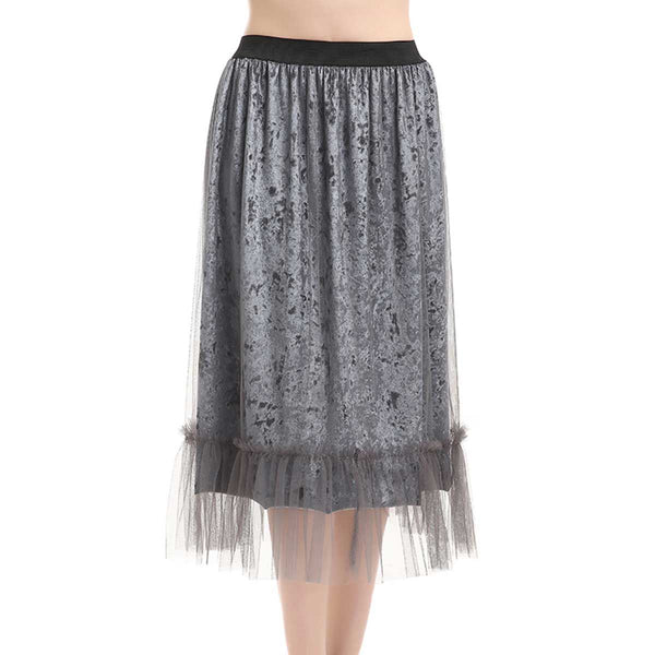 Crushed Velvet Suspension Skirt - One Size