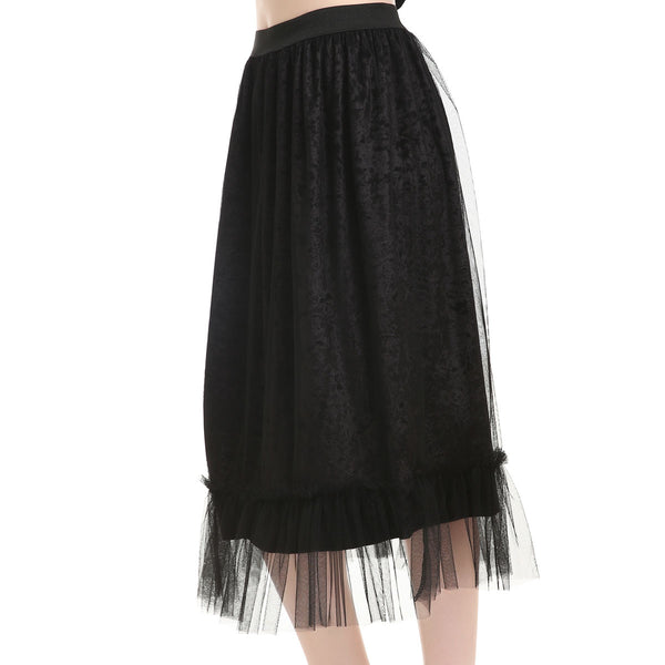 One Size Black Caviar Crushed Velvet Suspension Skirt