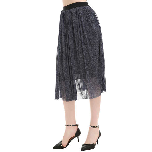 Steel Blue Pleated Skirt One Size