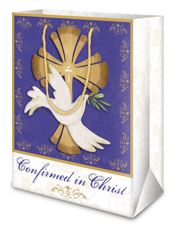 "3 Free 20"" x 26"" sheets of coordinating tissue paper with each bag. Matching Gift tags with blank backs to write a special note. Soft, coordinating rope handles. Each bag design includes scripture. Bags sold as 6 packs only. Material: Paper. occasion: Confirmation"