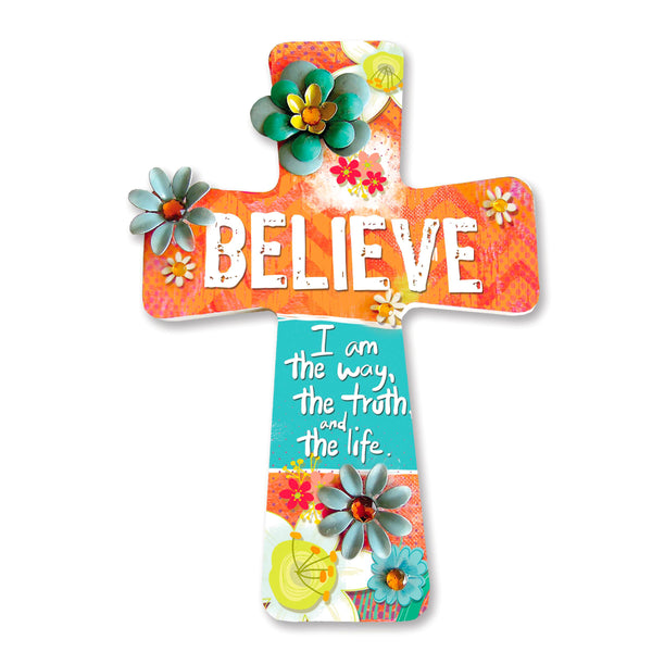 "Wooden Crosses Dimensions: 6. 5"" x 9. 5"" x 0. 5"". Metal flower & Jewel Accents. Wooden appliques. Hanger on back for wall display. Bring beautifulness and Inspiration to your home with these Wooden crosses. Hang it on the wall or door. Excellent gift for a house warm party, wedding gift, or Birthday. Reads: Believe; I am the way, the truth, and the life. Material: Wood."