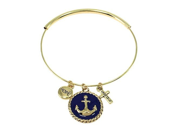 Divinity Boutique Adjustable Nautical Anchor Bangle Bracelet