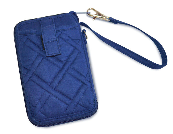 "Plus quilted cotton material. Insides lined with navy microfiber. Embroidery Spanish scripture. Cell phone wristlet dimension: 3. 75"" x 6"" x 1"". Zippered inside are 4 credit card slots, an ID window, and a cash pocket. On the outside is a slip-in pocket perfect for a cell phone and an ID window is displayed on the front. Material: Quilted Cotton."