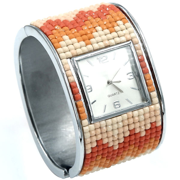 Coral Mosaic Hinged Cuff Watch