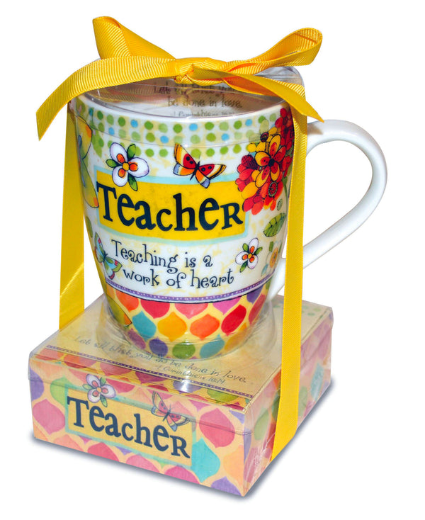 "Our mug and note gift set is a cute and functional gift for the extra special people in your life! Gift set includes a 12 oz mug that is dishwasher and microwave safe and a matching 3.75"" x 1.5"" notepad, packaged together with a decorative ribbon. Features scripture. Material: Ceramic/Paper."