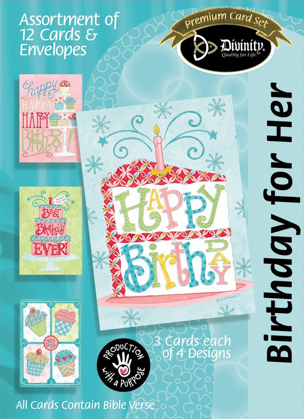 Divinity Boutique Boxed Cards: Birthday For Her, Birthday Sweets.