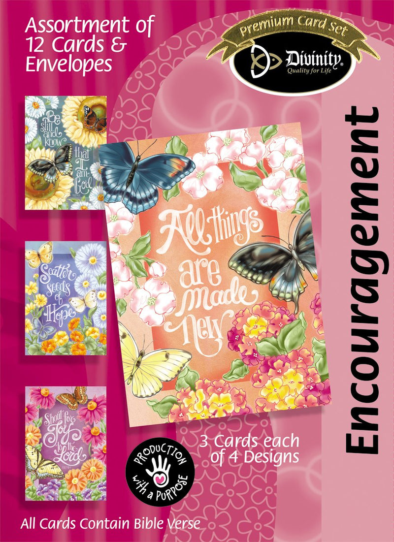 Divinity Boutique Boxed Cards: Encouragement, Butterfly Garden