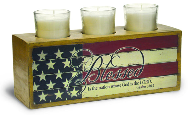 Divinity Boutique God Bless America: Wooden Votive Holder