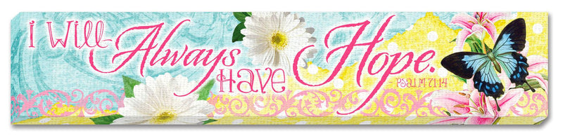 "Collectible canvas covered wood magnet from our Sunshine Daisies collection. Magnet measures 2.5"" x 3.25"" x 0.25"". Features scripture verse Romans 12:12 - Be Joyful!"