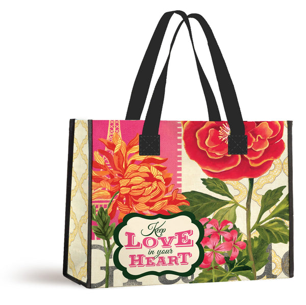 Divinity Boutique Reusable Nylon Shopping Tote Bag : Keep Love