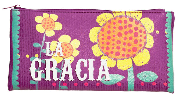 "Pouch is 4"" x 8"" with colored zipper. Can be used for just about anything; a handy place to store items like pens and pencils, makeup brushes, coupons and receipts or anything else you can fit! Front and back features full color print. Features Spanish Scripture. Material: PU."