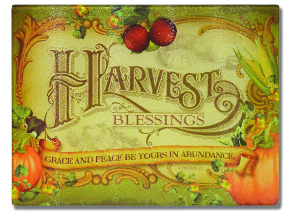 Divinity Boutique Harvest Blessings: Glass Cutting Board