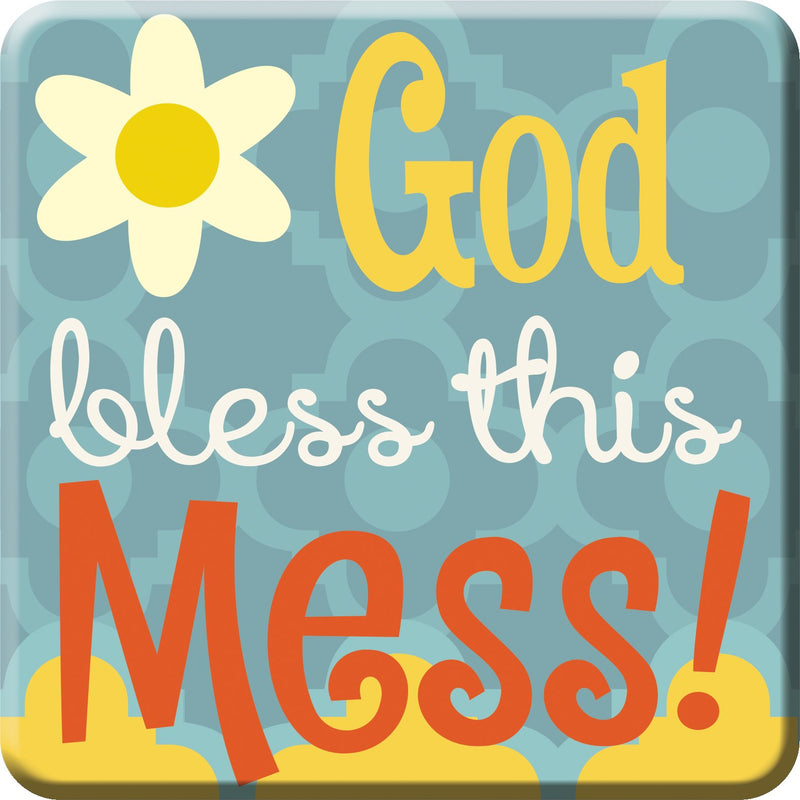 Oak Patch Gifts Retro Kitchen: Ceramic Magnet, God Bless This Mess