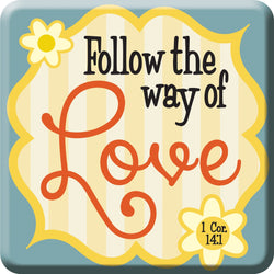 Oak Patch Gifts Retro Kitchen: Ceramic Magnet, Follow the Way of Love