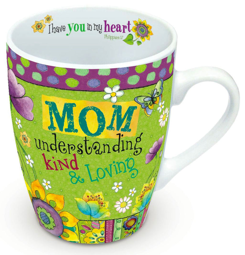 Colorful 12 oz ceramic mug with matching gift box. Features uplifting message on outside of mug and scripture verse on the inside. Dishwasher and microwave safe. Coordinates with other items from our Hearts 'N Hugs collection. Material: Ceramic.