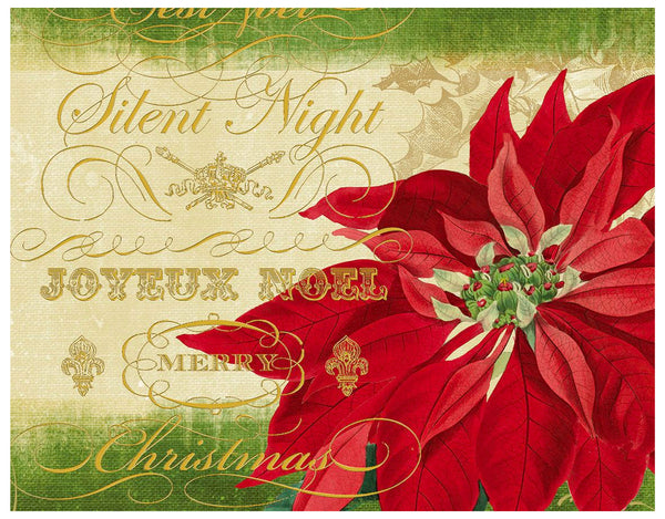 Boxed Christmas Cards: Silent Night Poinsettia