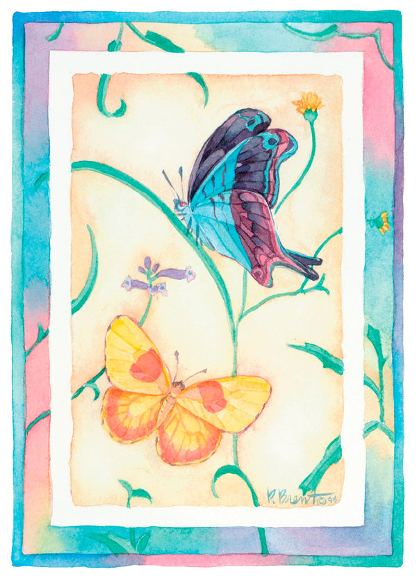 Single Cards: Birthday Butterflies Purple & Yellow (6 Pack)