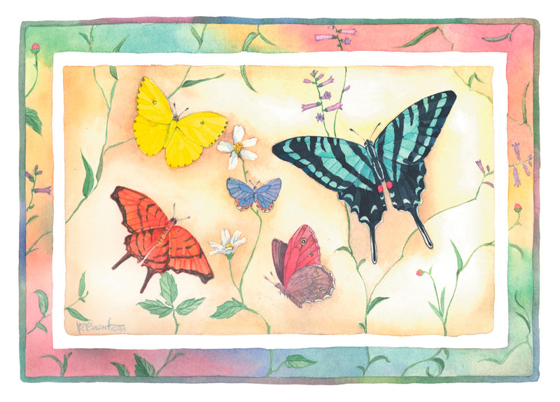 Single Cards: Birthday Butterflies Orange/Yellow/Teal black (6 Pack)