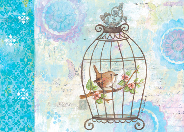 Single Cards: Watercolor Bird In Cage (6 Pack)