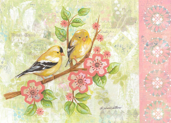 Divinity Boutique Single Cards: Watercolor Goldfinches (6 Pack)