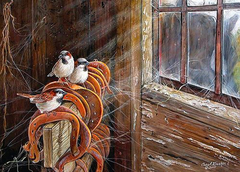 Single Cards: Barn Window Sparrows And Horseshoes (6 Pack)