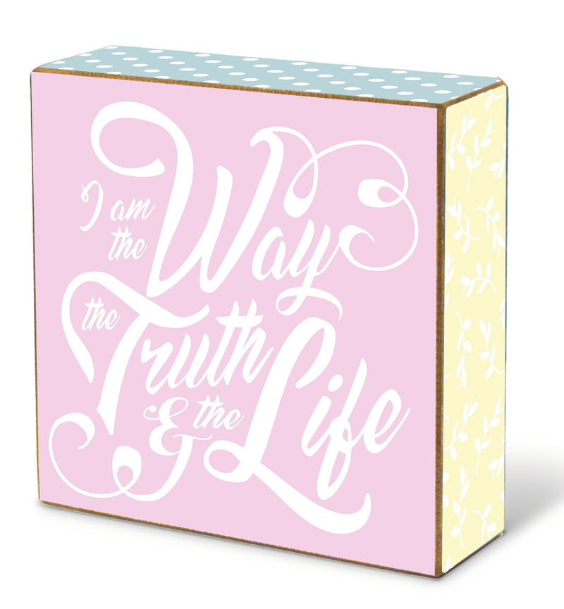 "decorator blox with an uplifting message. A perfect addition to your Easter decor! Features the inspirational message: I am the Way the Truth and the Life. Measures 5"" x 5"" x 1.75"". Material: Wood."